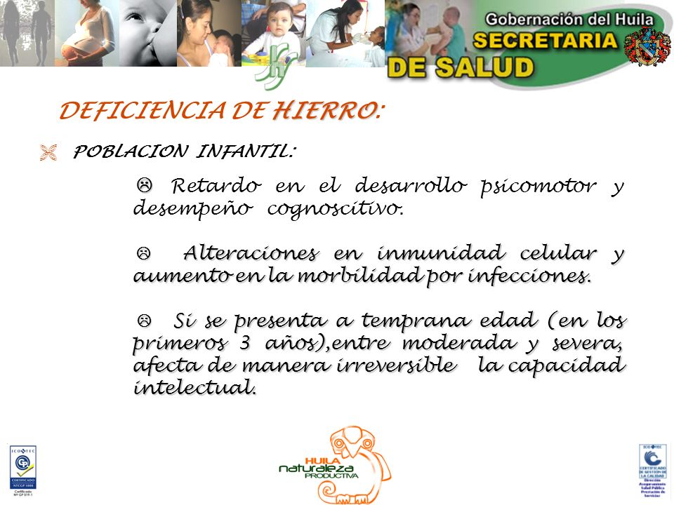 DEFICIENCIA DE HIERRO: