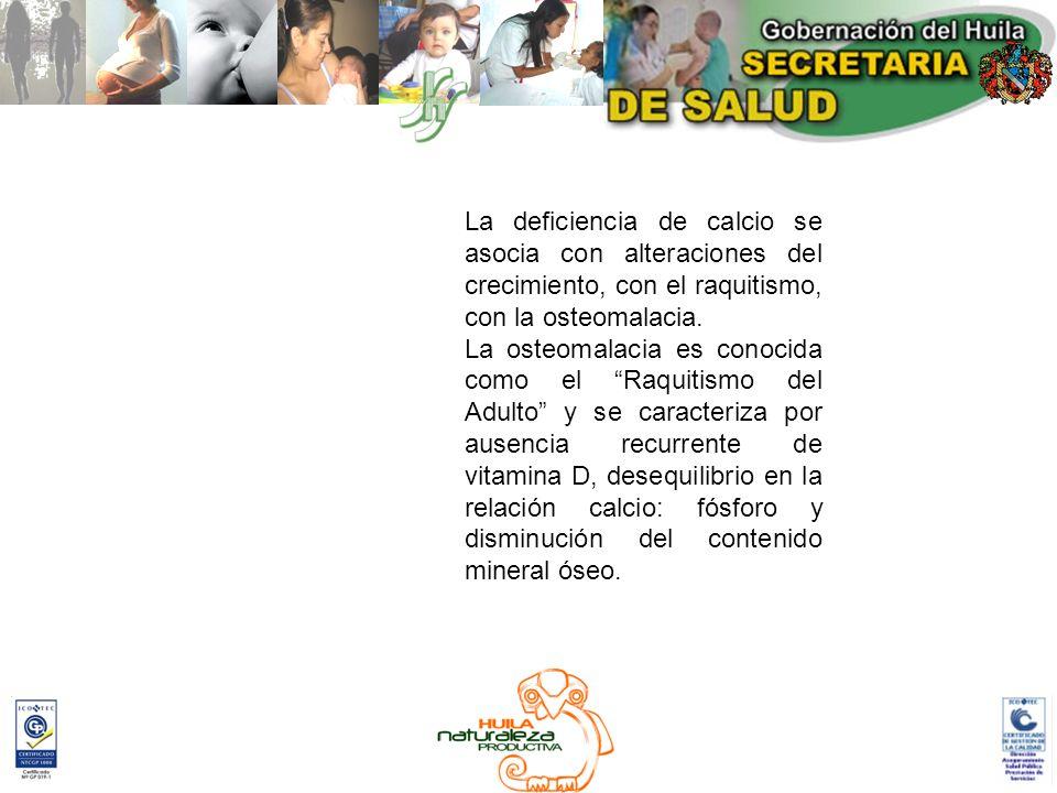 La deficiencia de calcio se asocia con alteraciones del crecimiento, con el raquitismo, con la osteomalacia.
