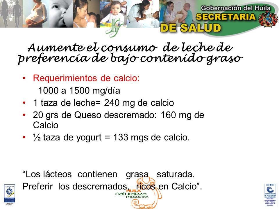Aumente el consumo de leche de preferencia de bajo contenido graso