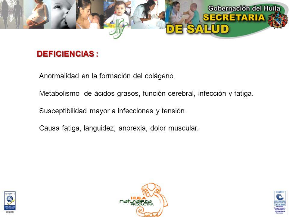 DEFICIENCIAS : Anormalidad en la formación del colágeno.
