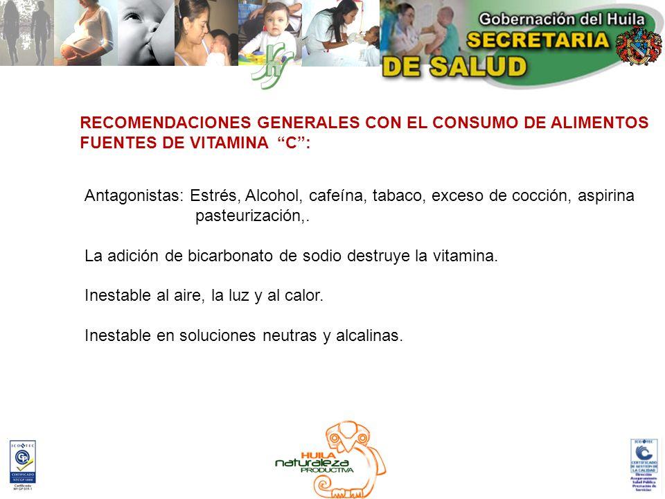 RECOMENDACIONES GENERALES CON EL CONSUMO DE ALIMENTOS