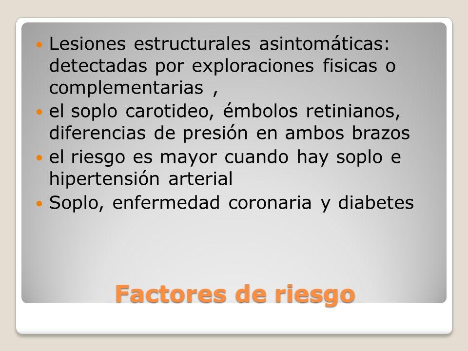 Lesiones estructurales asintomáticas: detectadas por exploraciones fisicas o complementarias ,
