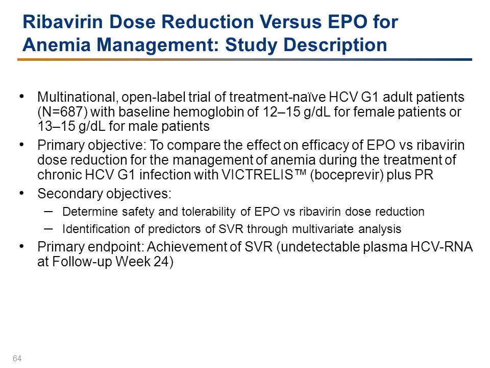 Ribavirin Dose Reduction Versus EPO for Anemia Management: Study Description