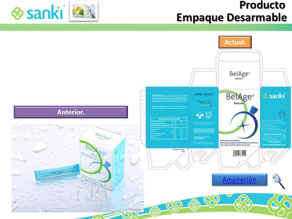 Producto Empaque Desarmable Actual. Anterior. Ampliación