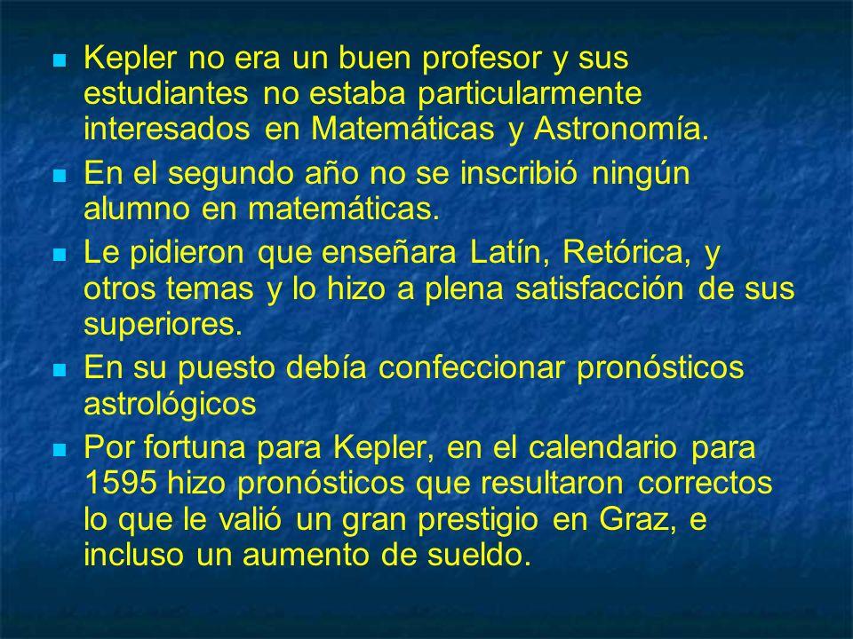 Kepler no era un buen profesor y sus estudiantes no estaba particularmente interesados en Matemáticas y Astronomía.