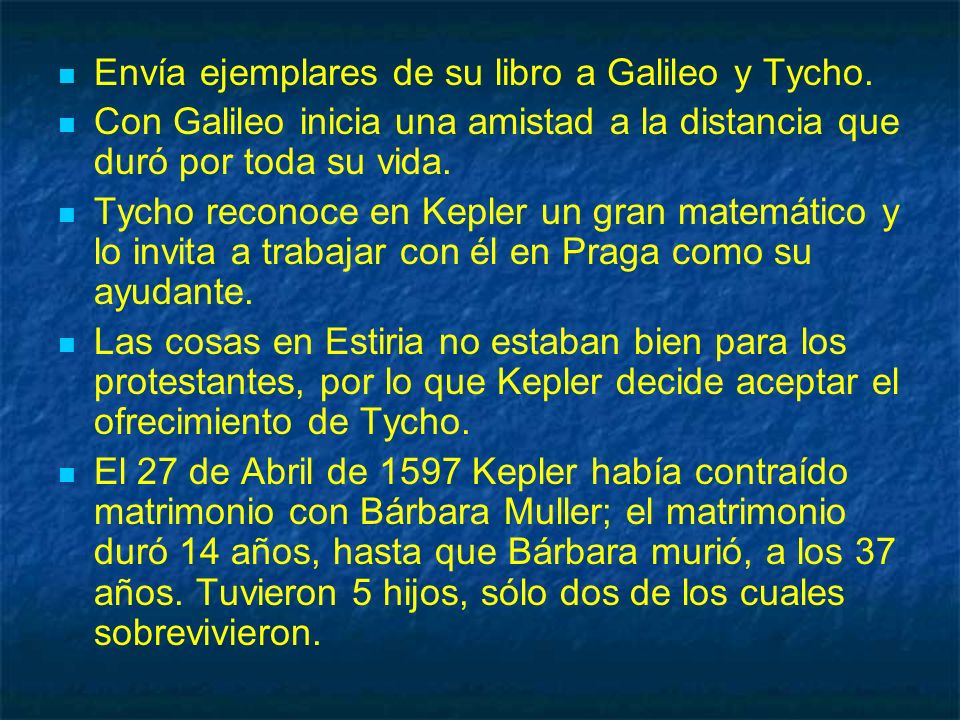Envía ejemplares de su libro a Galileo y Tycho.