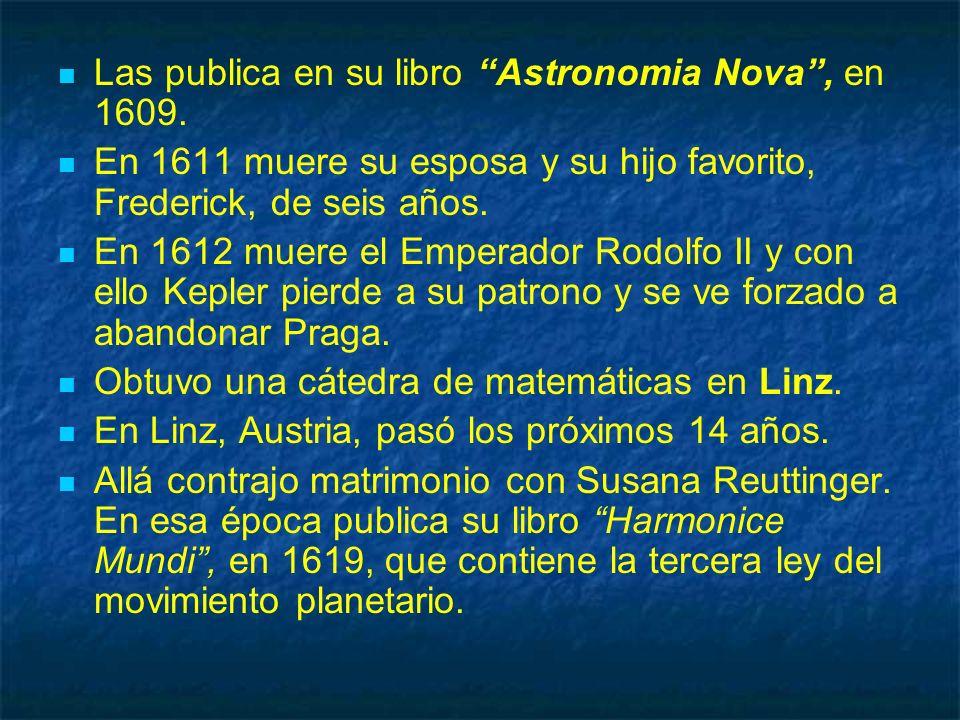 Las publica en su libro Astronomia Nova , en 1609.