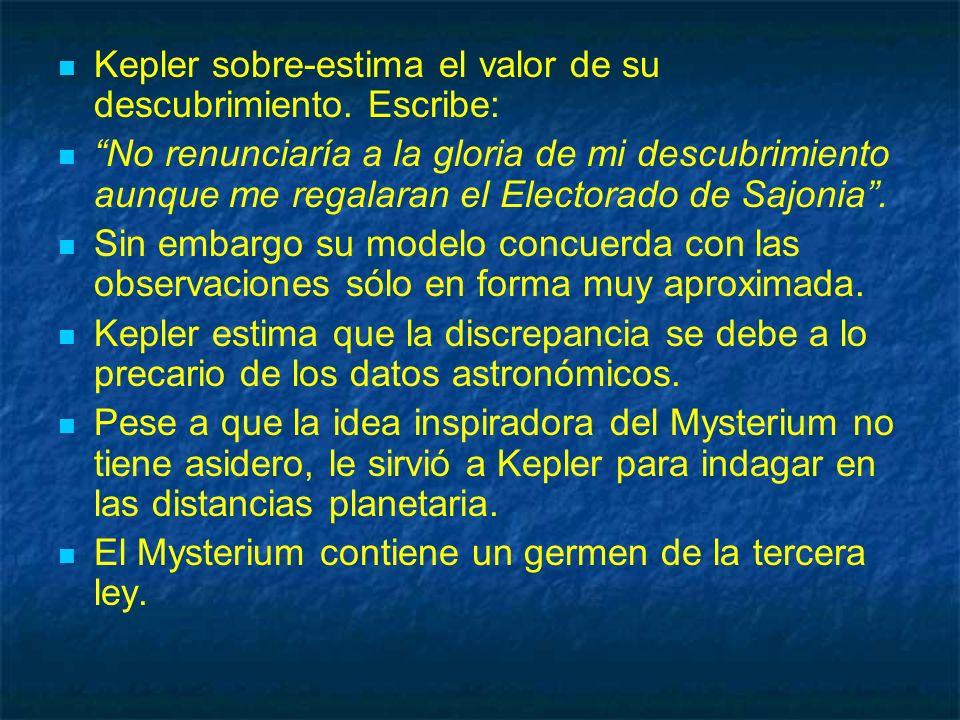 Kepler sobre-estima el valor de su descubrimiento. Escribe: