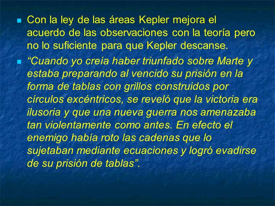 Con la ley de las áreas Kepler mejora el acuerdo de las observaciones con la teoría pero no lo suficiente para que Kepler descanse.