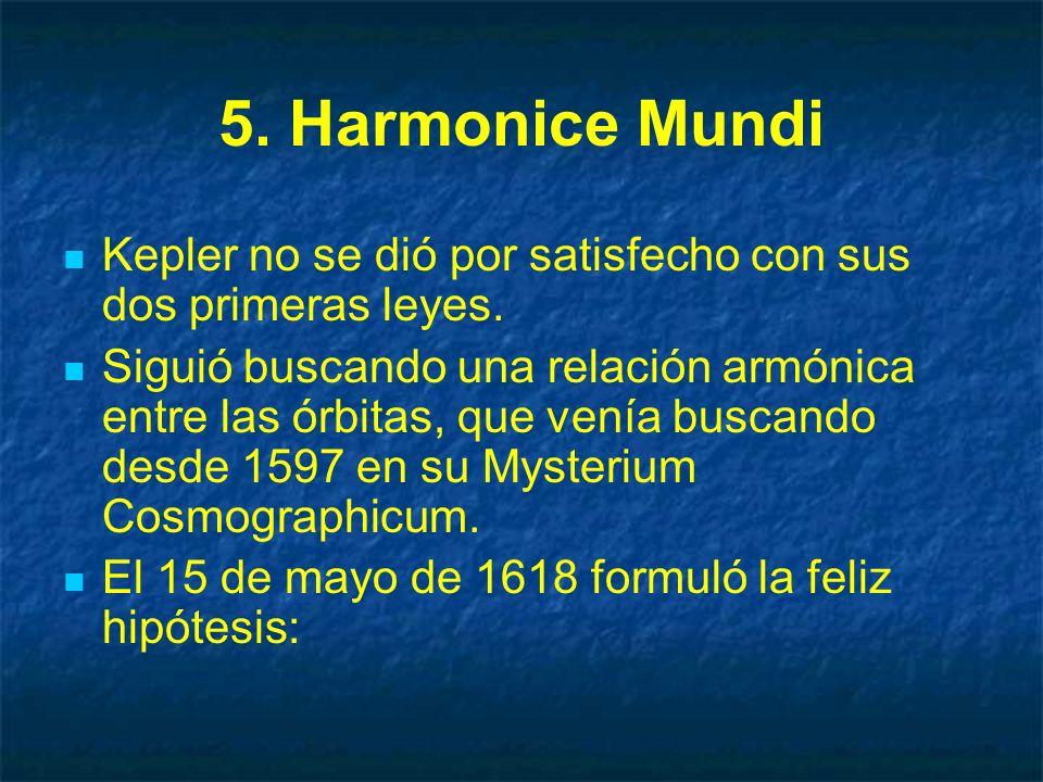 5. Harmonice Mundi Kepler no se dió por satisfecho con sus dos primeras leyes.