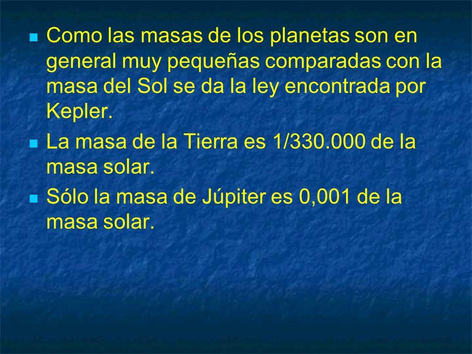 Como las masas de los planetas son en general muy pequeñas comparadas con la masa del Sol se da la ley encontrada por Kepler.