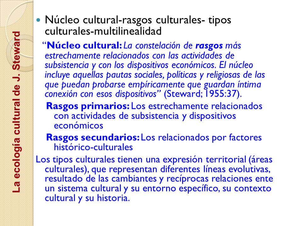 Núcleo cultural-rasgos culturales- tipos culturales-multilinealidad