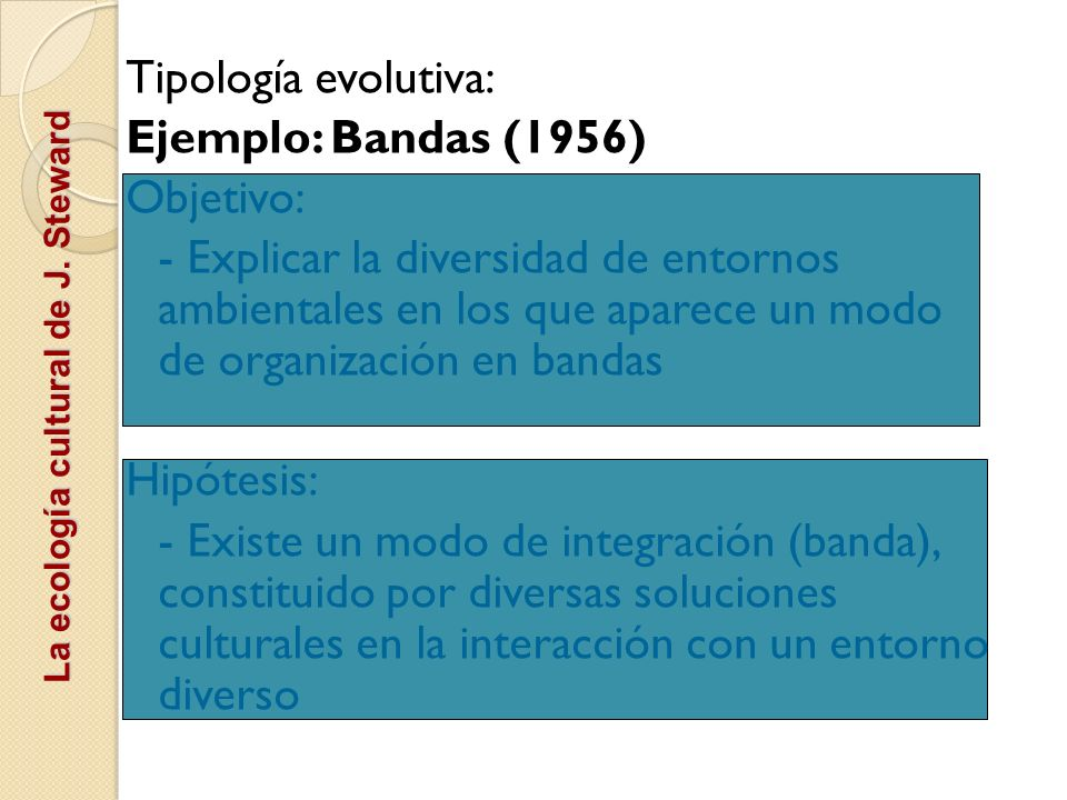 Tipología evolutiva: Ejemplo: Bandas (1956) Objetivo: