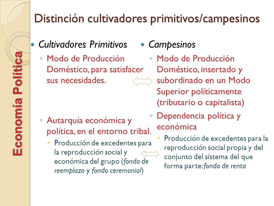 Distinción cultivadores primitivos/campesinos
