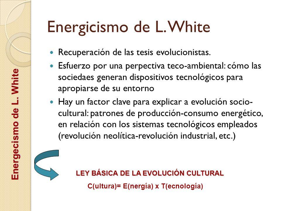 Energicismo de L. White Recuperación de las tesis evolucionistas.