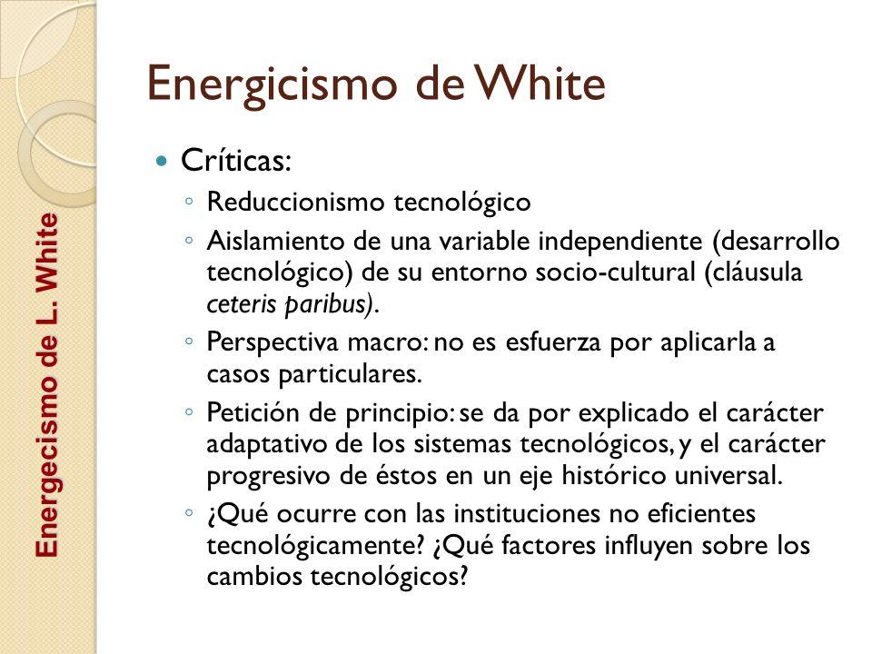 Energicismo de White Críticas: Reduccionismo tecnológico