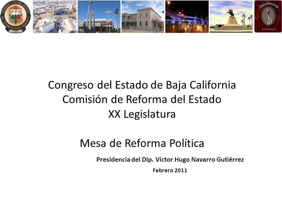 Congreso del Estado de Baja California Comisión de Reforma del Estado XX Legislatura Mesa de Reforma Política Presidencia del Dip.