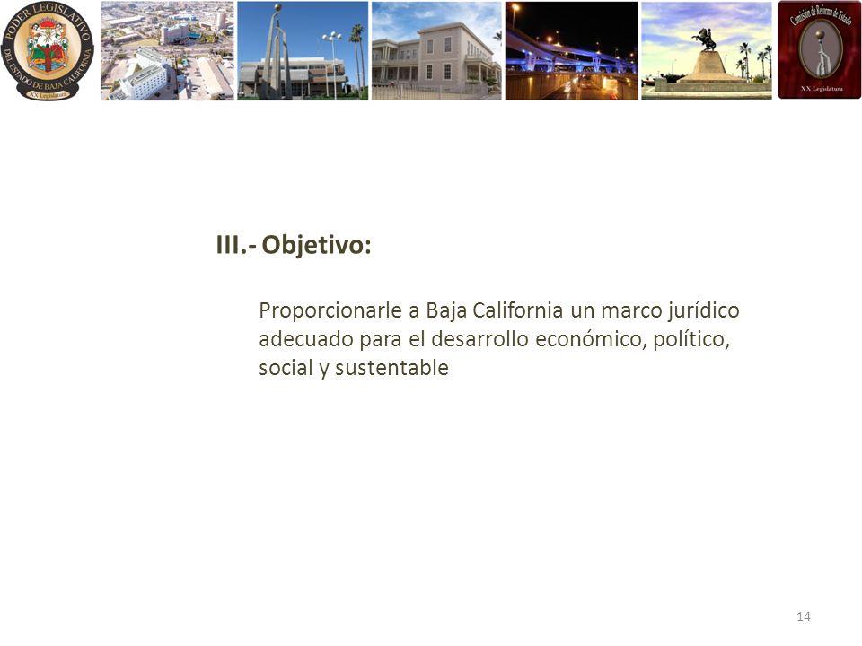 III.- Objetivo: Proporcionarle a Baja California un marco jurídico adecuado para el desarrollo económico, político, social y sustentable.