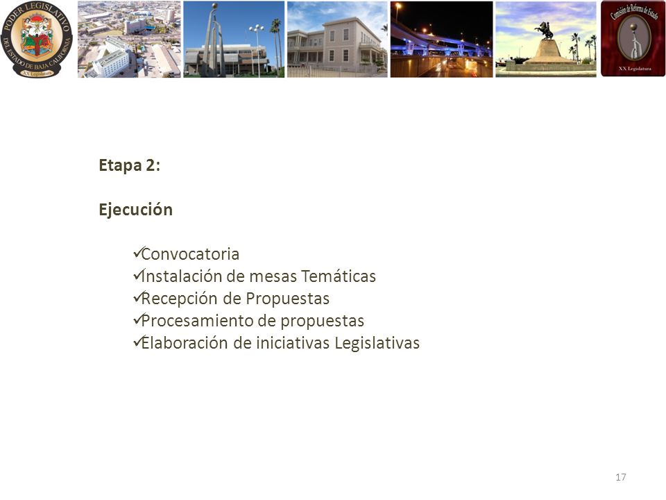 Etapa 2: Ejecución. Convocatoria. Instalación de mesas Temáticas. Recepción de Propuestas. Procesamiento de propuestas.