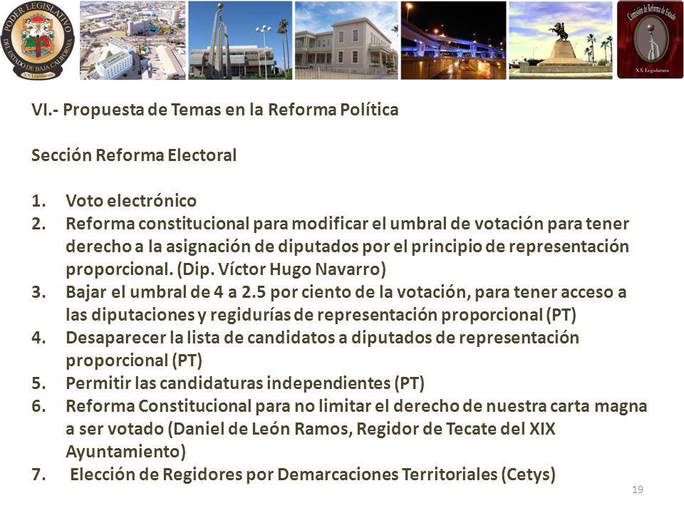 VI.- Propuesta de Temas en la Reforma Política
