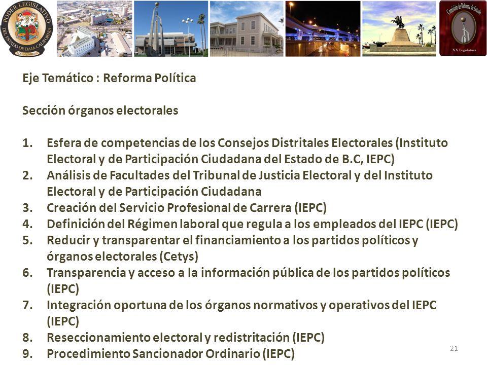 Eje Temático : Reforma Política Sección órganos electorales