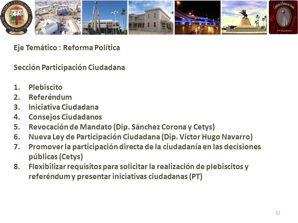 Eje Temático : Reforma Política Sección Participación Ciudadana