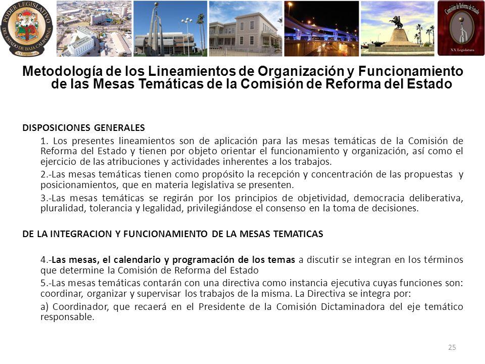 Metodología de los Lineamientos de Organización y Funcionamiento de las Mesas Temáticas de la Comisión de Reforma del Estado