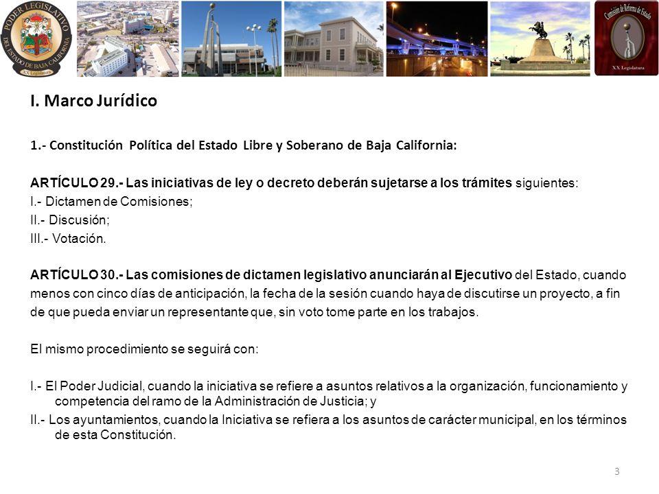 I. Marco Jurídico 1.- Constitución Política del Estado Libre y Soberano de Baja California: