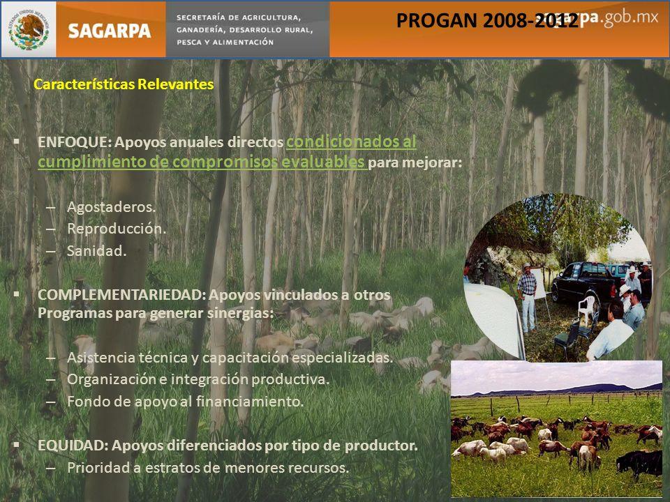 PROGAN 2008-2012 Características Relevantes