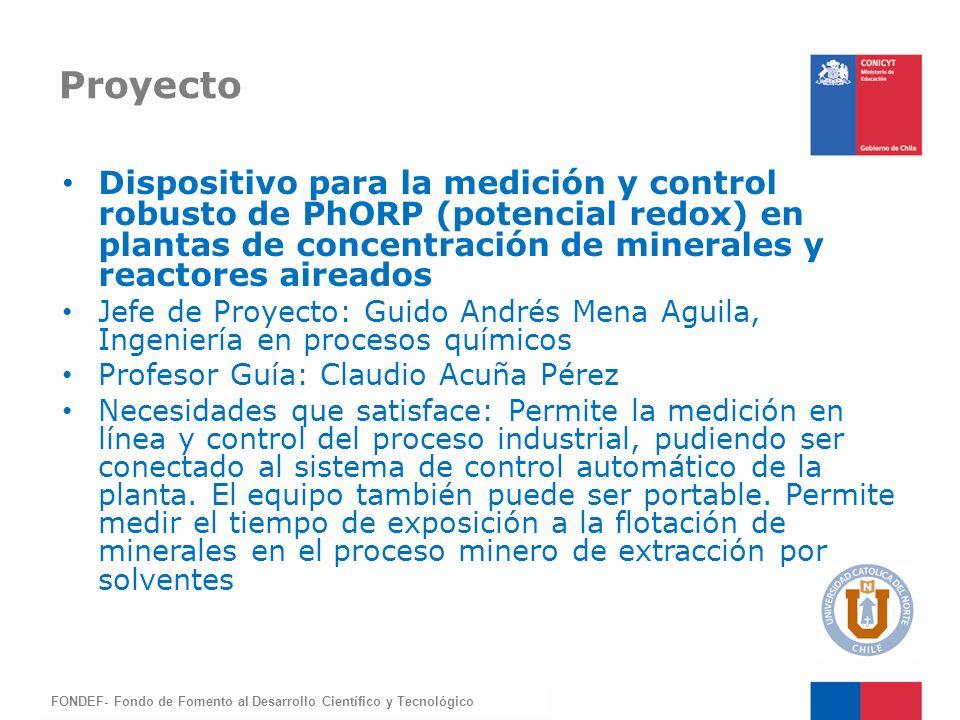 Proyecto Dispositivo para la medición y control robusto de PhORP (potencial redox) en plantas de concentración de minerales y reactores aireados.