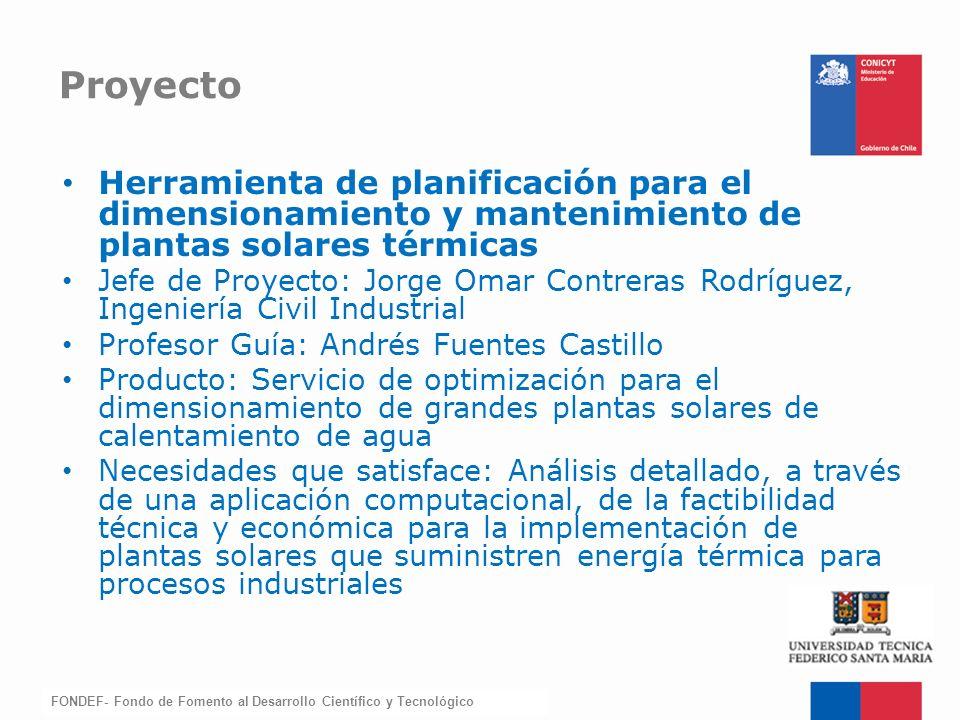 Proyecto Herramienta de planificación para el dimensionamiento y mantenimiento de plantas solares térmicas.