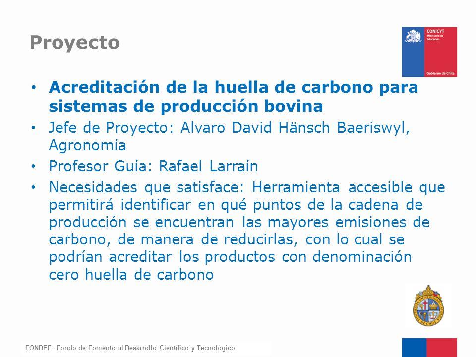 Proyecto Acreditación de la huella de carbono para sistemas de producción bovina. Jefe de Proyecto: Alvaro David Hänsch Baeriswyl, Agronomía.