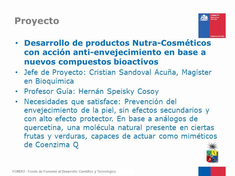 Proyecto Desarrollo de productos Nutra-Cosméticos con acción anti-envejecimiento en base a nuevos compuestos bioactivos.