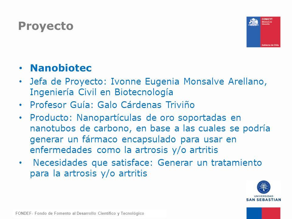 Proyecto Nanobiotec. Jefa de Proyecto: Ivonne Eugenia Monsalve Arellano, Ingeniería Civil en Biotecnología.