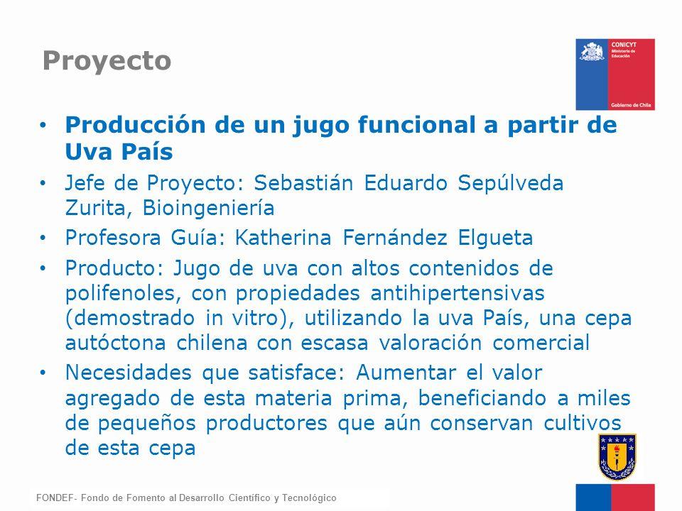 Proyecto Producción de un jugo funcional a partir de Uva País