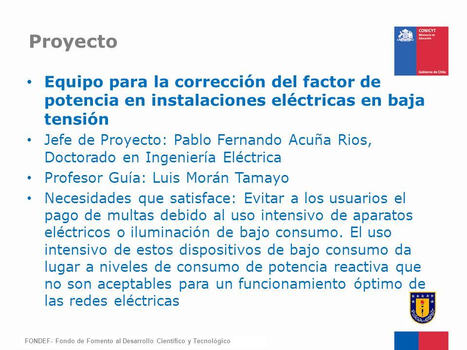 Proyecto Equipo para la corrección del factor de potencia en instalaciones eléctricas en baja tensión.