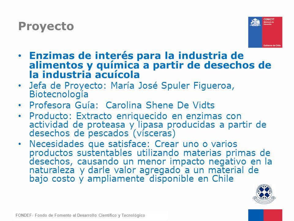 Proyecto Enzimas de interés para la industria de alimentos y química a partir de desechos de la industria acuícola.