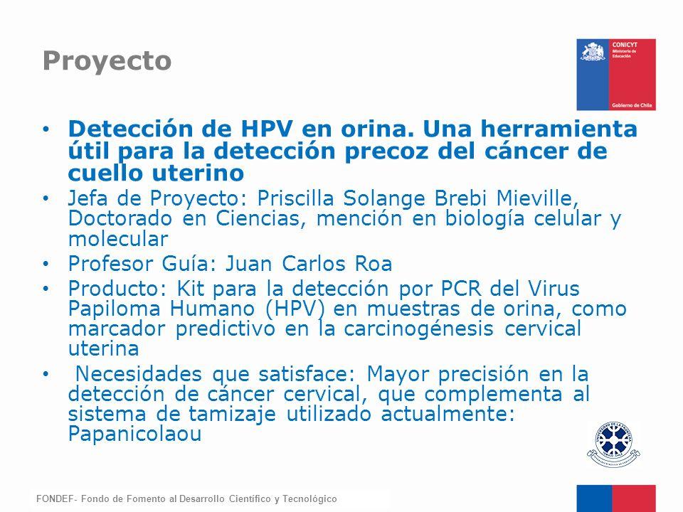 Proyecto Detección de HPV en orina. Una herramienta útil para la detección precoz del cáncer de cuello uterino.