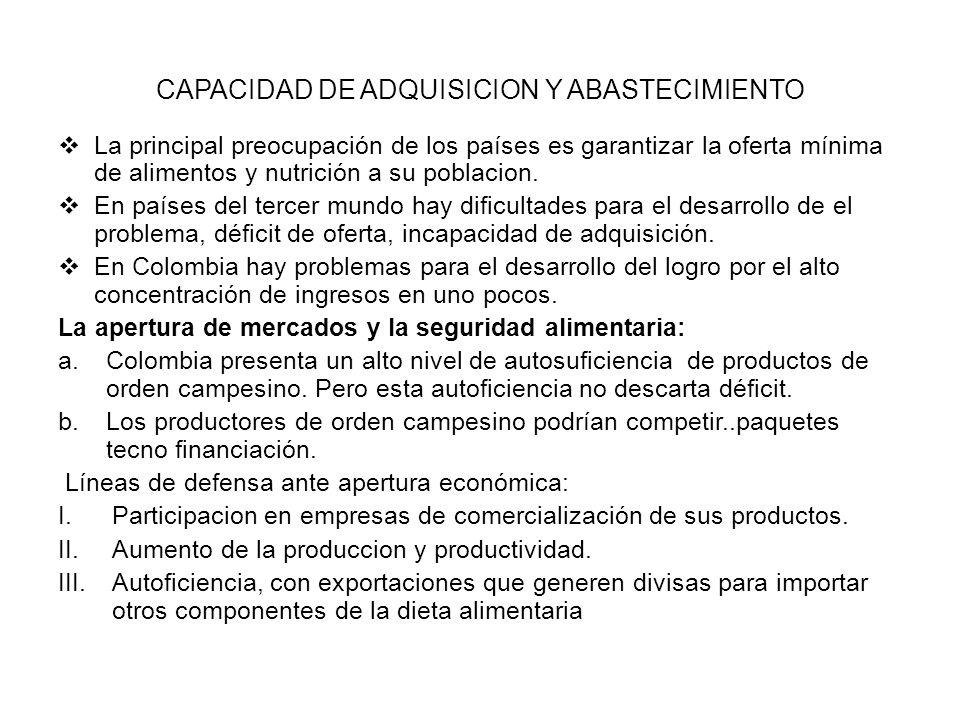 CAPACIDAD DE ADQUISICION Y ABASTECIMIENTO