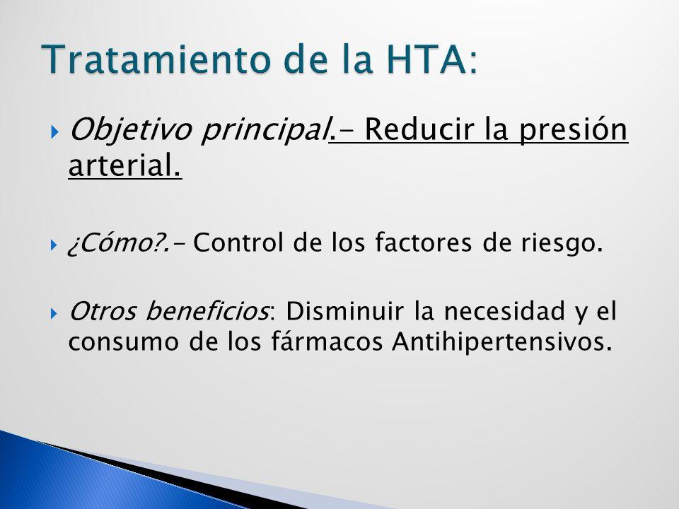 Tratamiento de la HTA: Objetivo principal.- Reducir la presión arterial. ¿Cómo .- Control de los factores de riesgo.