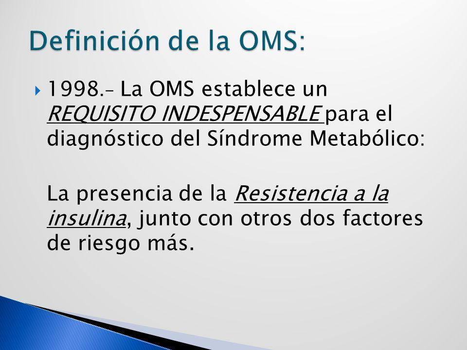 Definición de la OMS: 1998.- La OMS establece un REQUISITO INDESPENSABLE para el diagnóstico del Síndrome Metabólico: