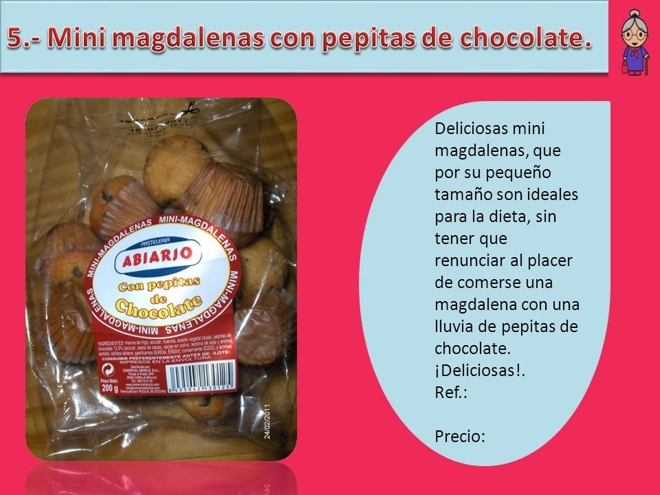 5.- Mini magdalenas con pepitas de chocolate.