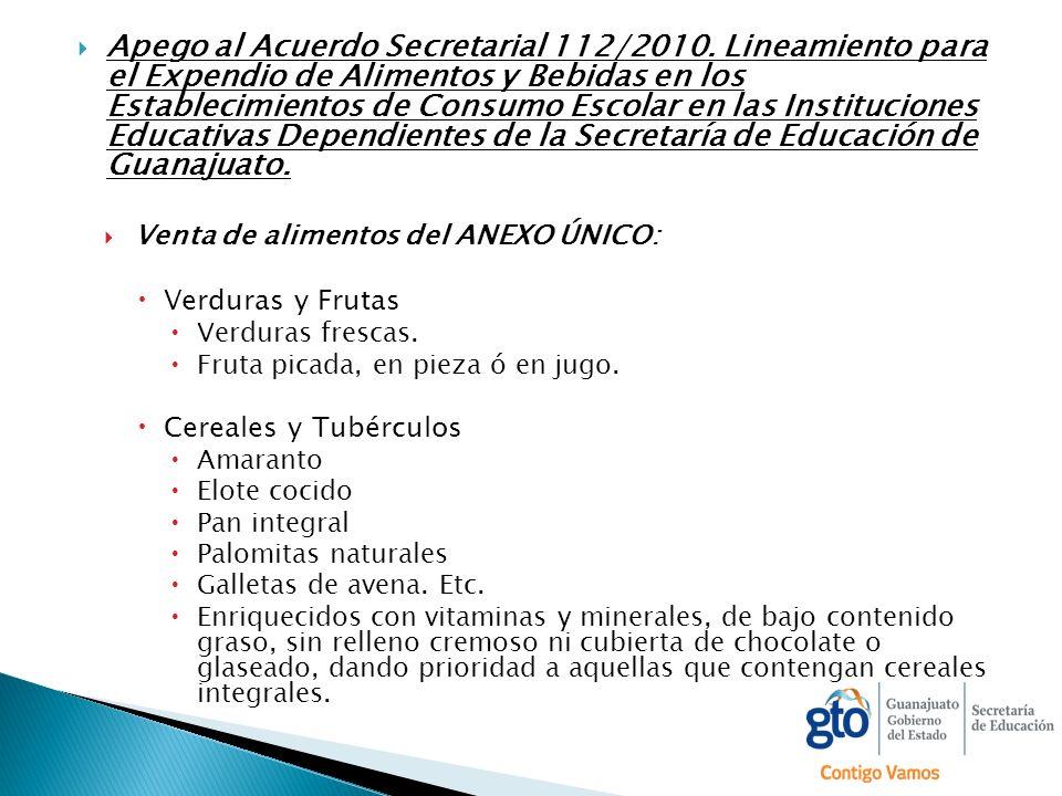 Apego al Acuerdo Secretarial 112/2010