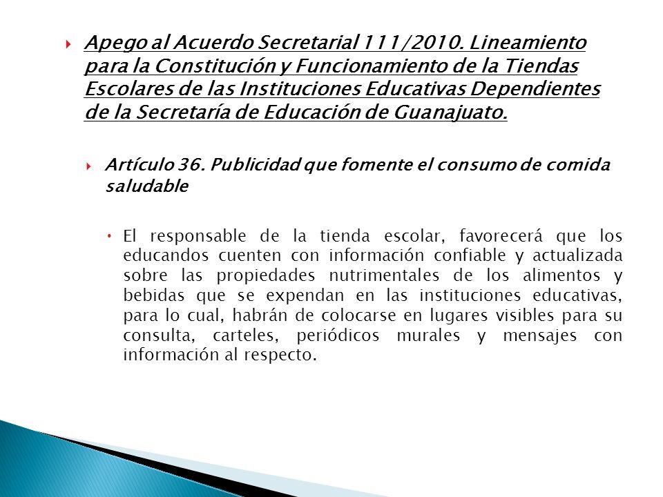 Apego al Acuerdo Secretarial 111/2010