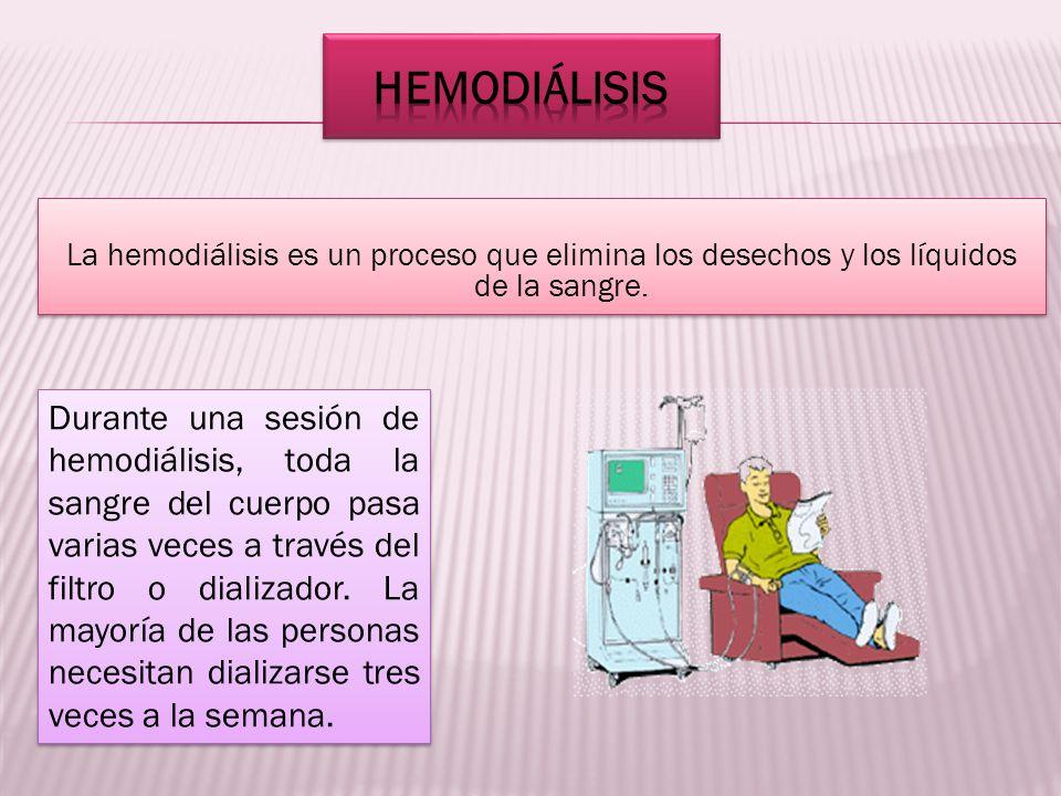 HEMODIÁLISIS La hemodiálisis es un proceso que elimina los desechos y los líquidos de la sangre.