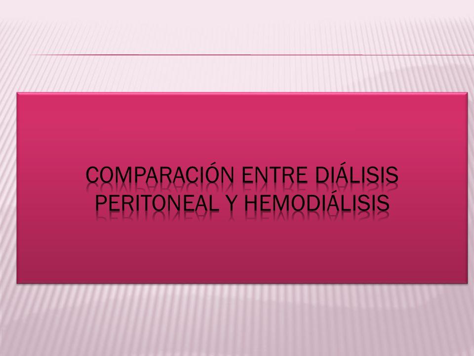Comparación entre diálisis peritoneal y hemodiálisis