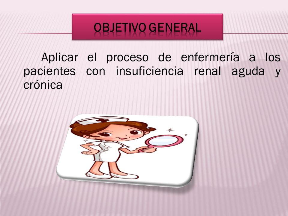 OBJETIVO GENERAL Aplicar el proceso de enfermería a los pacientes con insuficiencia renal aguda y crónica.
