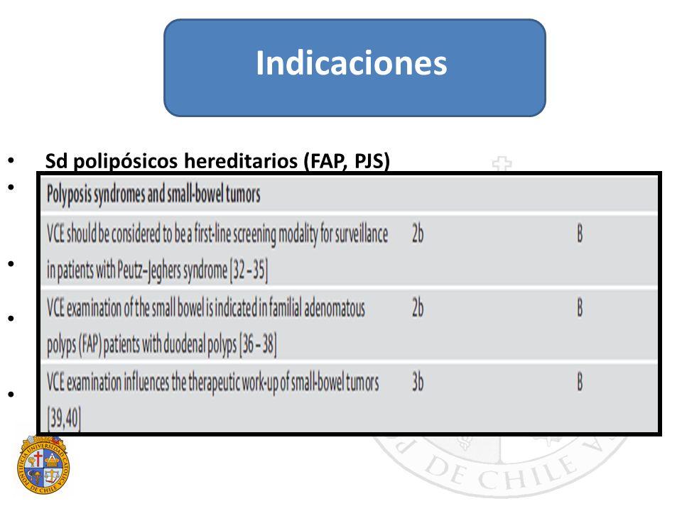 Indicaciones Sd polipósicos hereditarios (FAP, PJS)