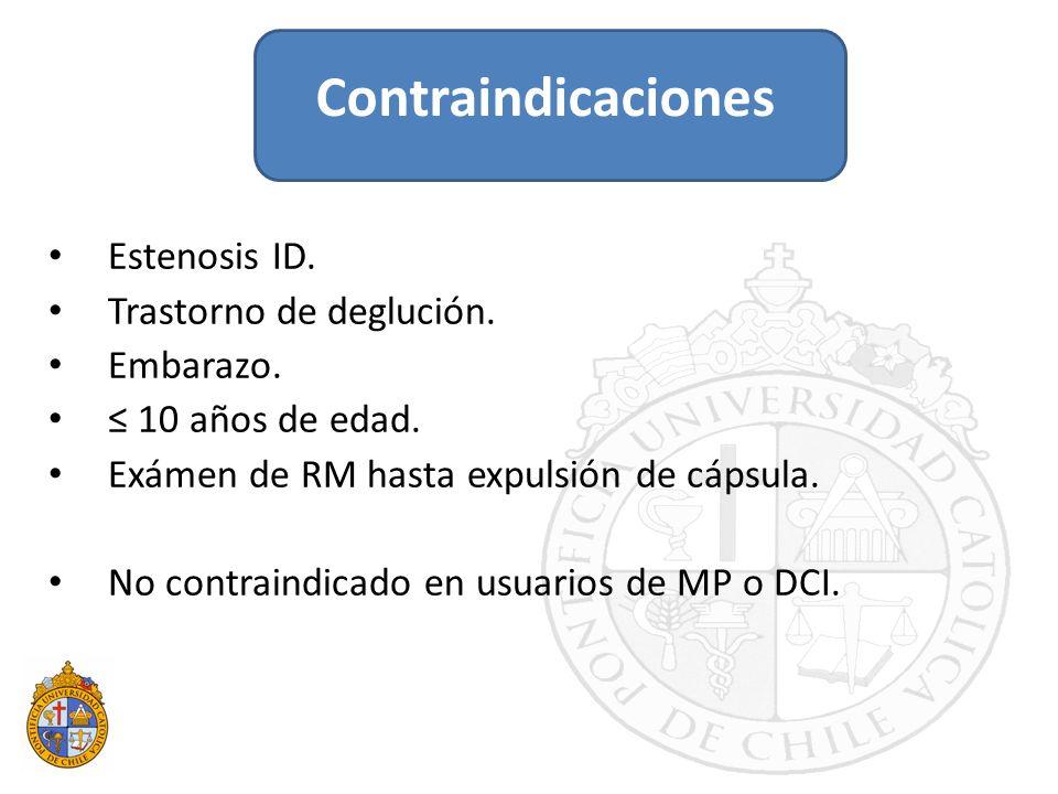 Contraindicaciones Estenosis ID. Trastorno de deglución. Embarazo.