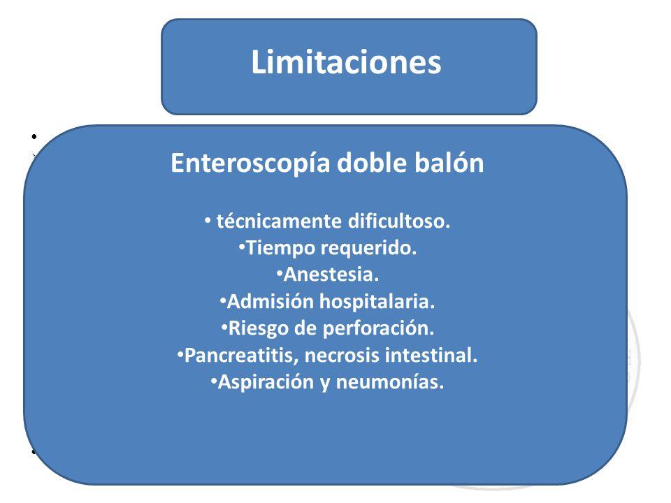 Limitaciones Enteroscopía doble balón técnicamente dificultoso.